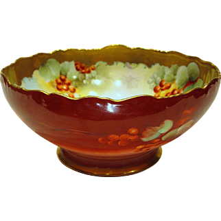 Large Limoges Bowl Hand Painted Currents by Pickard Artist M. Rost Leroy