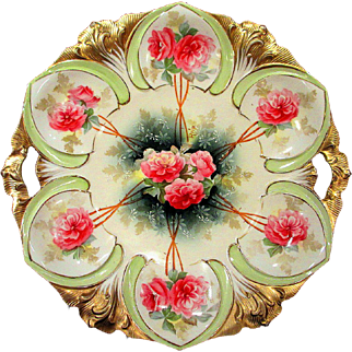 RS Prussia Cake Plate Red Roses and Gold Artist Signed