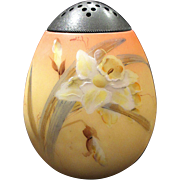 Mt Washington Art Glass Sugar Shaker Muffineer Burmese Finish Gorgeous Hand Painted Daffodils