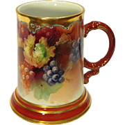 Gorgeous Limoges Mug Stein Hand Painted Grapes Artist Signed