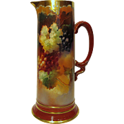 Gorgeous Large Limoges Tankard Pitcher Hand Painted Grapes Artist Signed Mint