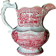 Large Staffordshire Red Transferware Pitcher Lake Scenery Enoch Wood