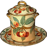 Antique Bavaria Condensed Milk Container with Under Plate Hand Painted Cherries and Gold
