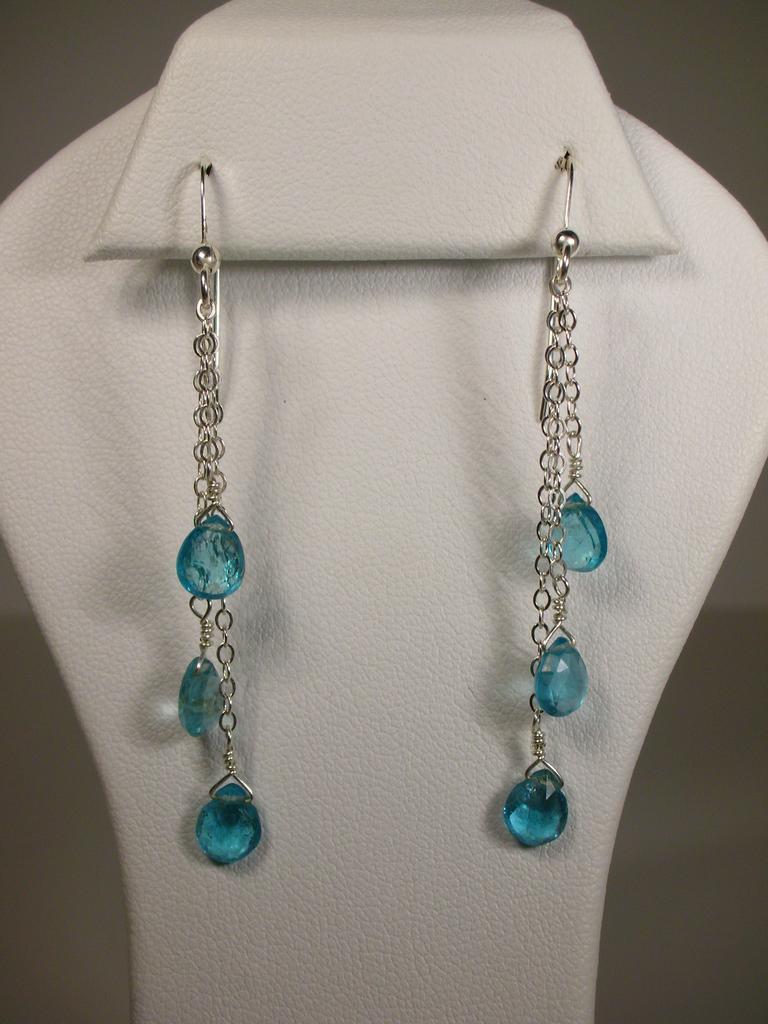 Triple Drop Blue Green Apatite Sterling Silver Earrings