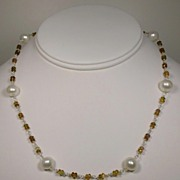 Yellow Tourmaline and White Cultured Freshwater Pearl Necklace