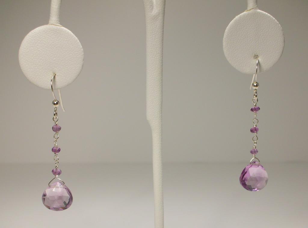 Long Ametrine and Amethyst Sterling Silver Earrings