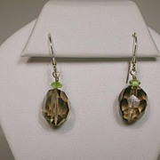 Smoky Quartz and Peridot Earrings