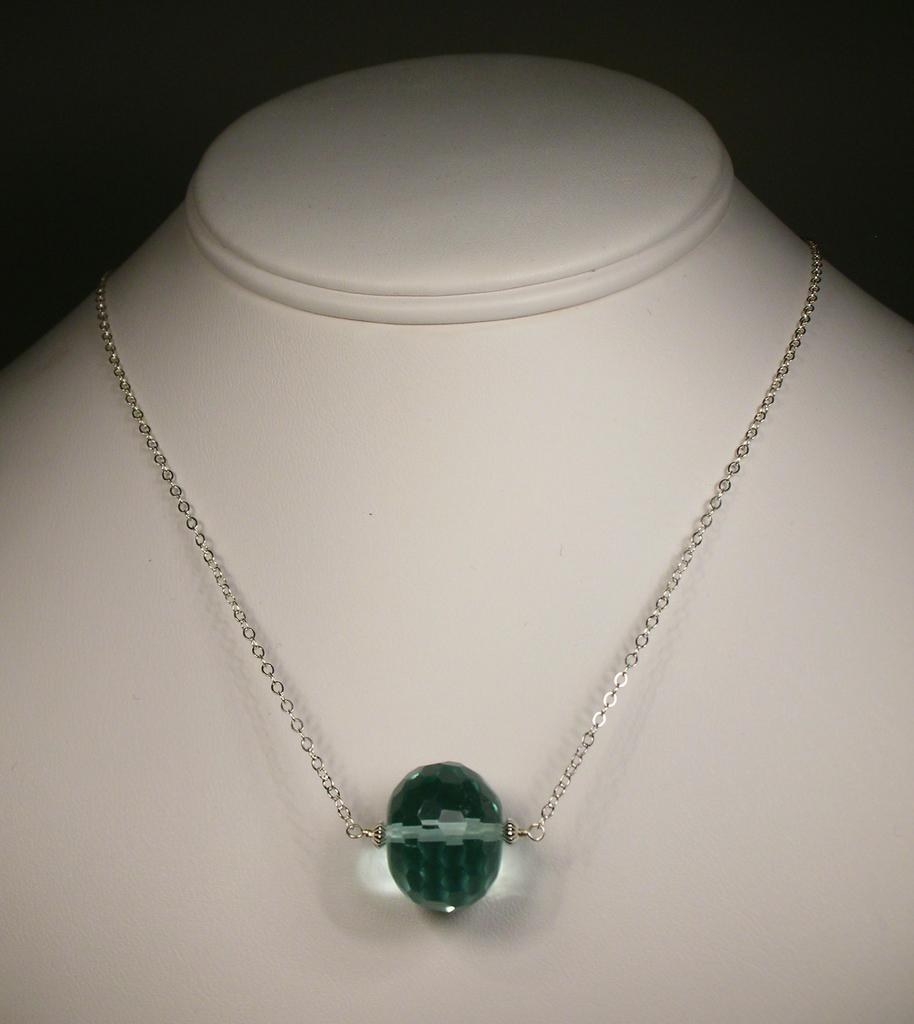 Sterling Silver Aqua Quartz Necklace