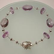 Pink Amethyst Sterling Silver Bracelet