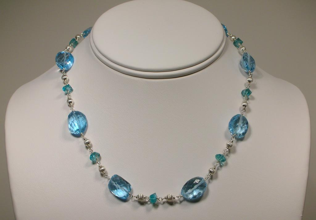 Blue Topaz And Apatite Sterling Silver Necklace From