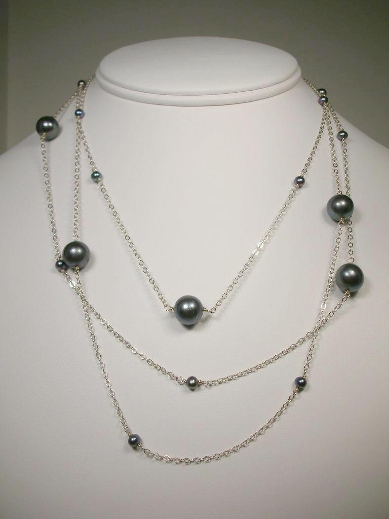 Black Cultured Freshwater Pearl Layering Sterling Silver Necklace