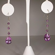 Sterling Silver African Amethyst Pear Earrings