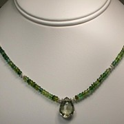 Green Amethyst and Green Tourmaline Sterling Silver Necklace