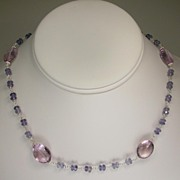 Pink Amethyst and Iolite Sterling Silver Necklace