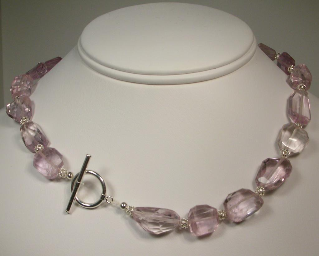 Sterling Silver Pink Amethyst Nugget Necklace