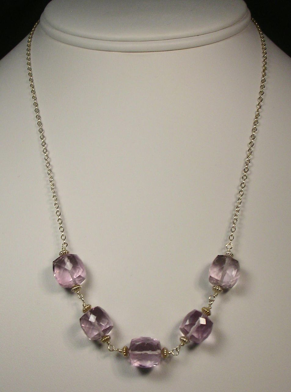 Sterling Silver Pink Amethyst Cube Necklace