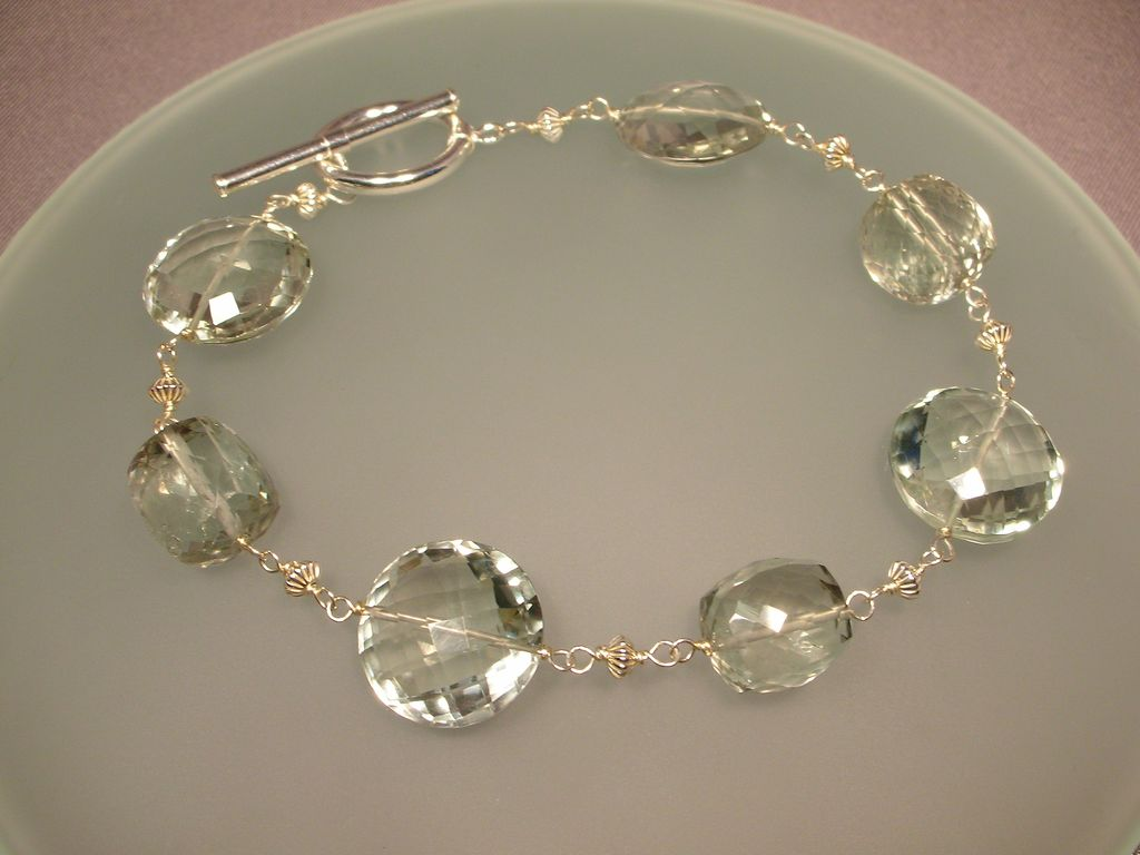 Sterling Silver Green Amethyst Cube and Coin Bracelet