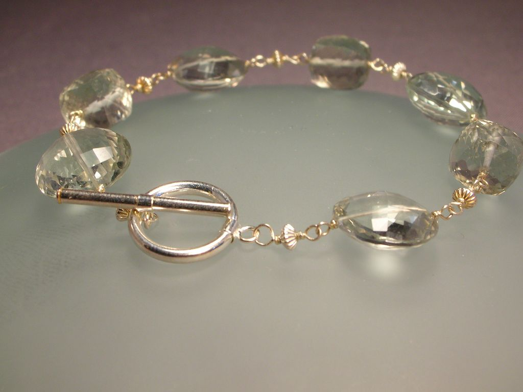 Sterling Silver Green Amethyst Cube And Coin Bracelet From