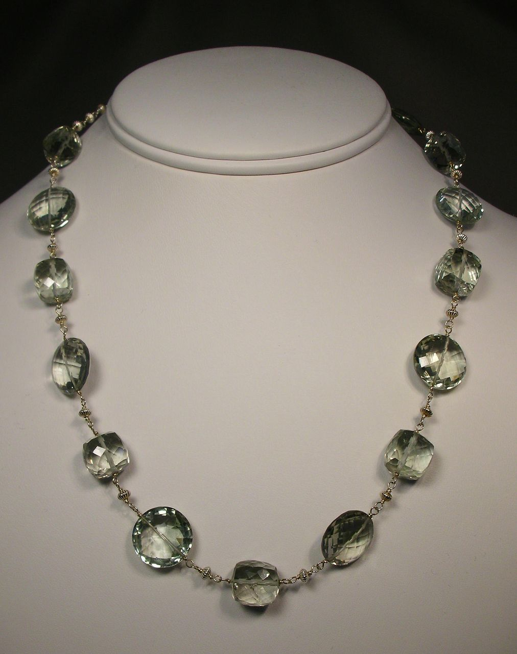 Sterling Silver Green Amethyst Cube and Coin Necklace
