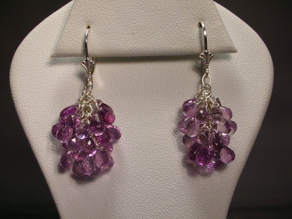 Sterling Silver Pink Amethyst Cluster Earrings