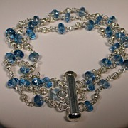 Sterling Silver London Blue Topaz 3 Strand Bracelet