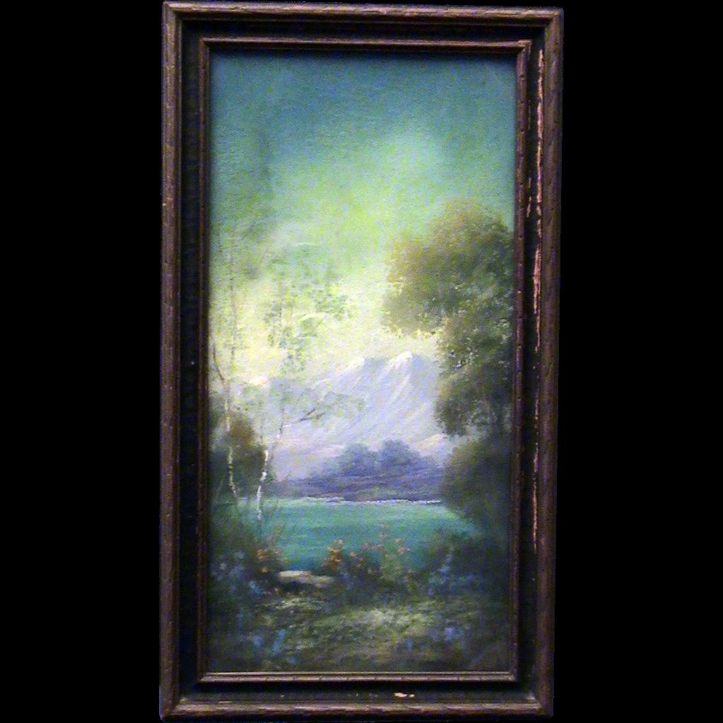 Oil Pastel Painting- Early California Artist Arthur E. Gompel- Desert Scene