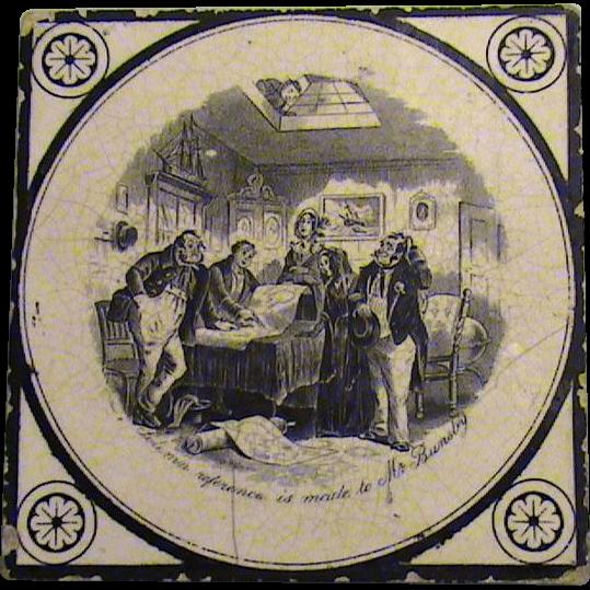 19th. Century English Tea Tile- Charles Dickens Scene