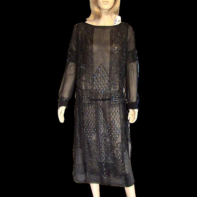 Black Silk Chiffon Crepe Beaded 1920's Flapper Dress