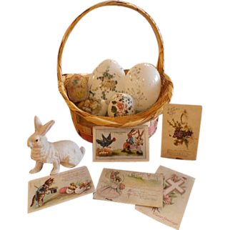 Easter Basket Collection- Glass Eggs- Bunny Rabbit- Postcards