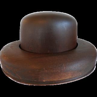 Milliner's Wood Hat Block- Form- Mold- Homburg Shape