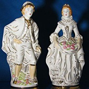 Pair Porcelain Colonial Couple Figurines Gold Trimmed
