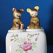 Vintage Bear Cubs Nodder Porcelain Salt and Pepper Shaker Set