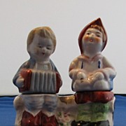 Dutch Children Sitting on Bench Singing and Playing Accordion Salt and Pepper Shakers