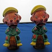 Vintage Brewery Workers Sitting On  Beer Kegs Salt And Pepper Shakers