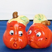 Vintage Anthropomorphic One Piece Orange Peppers Salt and Pepper Shaker Set