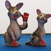 Vintage Shafford Waving Kangaroo in Red Gloves Salt and Pepper Shaker Set
