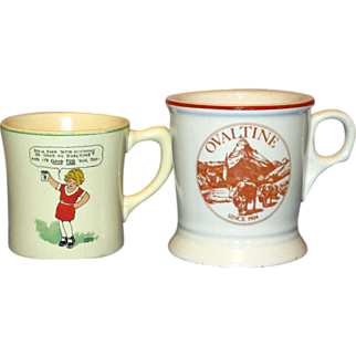 2 Vintage Ovaltine Advertising Mugs