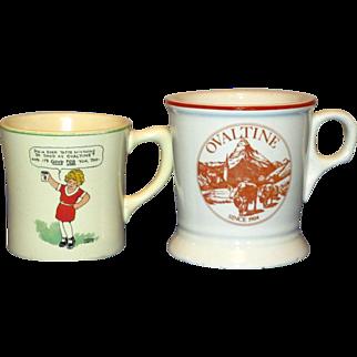 2 Vintage Ovaltine Advertising Mugs