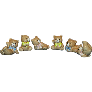 Set of 6  Russ Porcelain Berrie Patchwork Bears Figurines