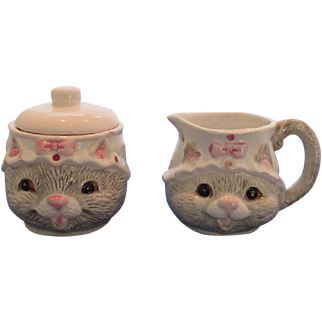 Cat Sugar and Creamer Set
