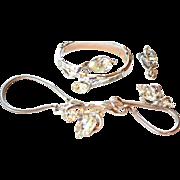 TRIFARI Gems of India Clamper Bracelet Necklace Earrings Silvertone Finish