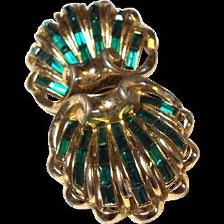 SPECTACULAR Coro DUETTE Fur Clips Pin Emerald GREEN Baguette Fur Clips Pin