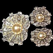 CLASSIC Trifari DREAM SHELL Fur Clip & Earrings 1947 Sterling