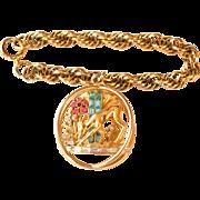 "Adorable Coro Craft Bracelet ""Gentle FAWN At WATERFALL"" Deer Adolf Katz"
