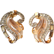 "ULTRA Rare TRIFARI Jelly Belly ""Curl"" Clip Earrings 1949"