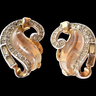 "ULTRA Rare TRIFARI Jelly Belly ""Curl"" Clip Earrings 1949"