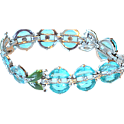 RARE & Excellent Trifari Bracelet AQUA Blue DEMI LUNE Stones Green Enamel Linked