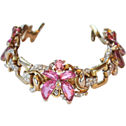 Extremely RARE Trifari PINK Demi Lune Floral Bracelet