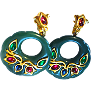 TRIFARI Green Thermoset Earrings Jewels India Red Green Blue Cabochons