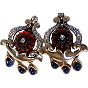 TRIFARI RED Jewels of India Moghul Earrings Melon Carved Stones 1949